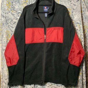 CHAPS Men's XL Black Red Fleece Zip Up